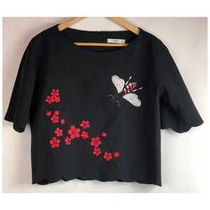Mango Floral Embroidered Top